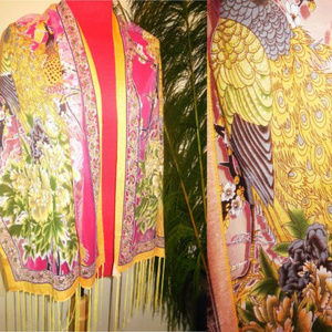 Accessories - Shawl Pink Yellow Peacock Sheer Long Fringe A